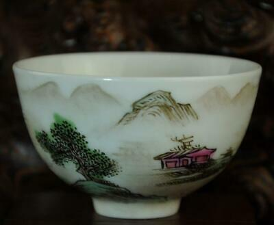 chinese Handwork old porcelain hand painted landscape bowl /yongzheng mark Aa02J