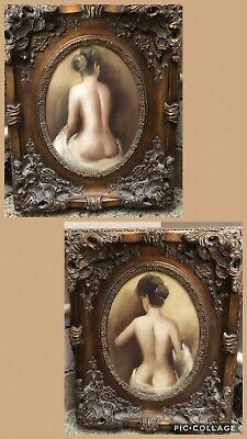 Lot Of Two Vintage Antique Style Ladies Mid Century Nude Portraits/Paintings
