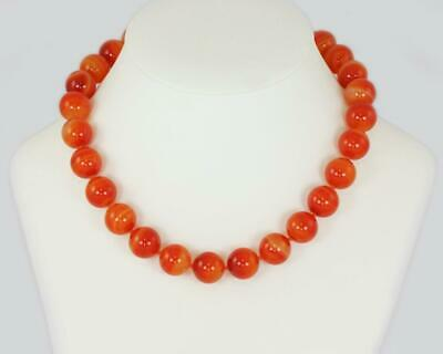 Tiffany & Co. Paloma Picasso Orange Banded Agate Bead Necklace Silver C C Clasp
