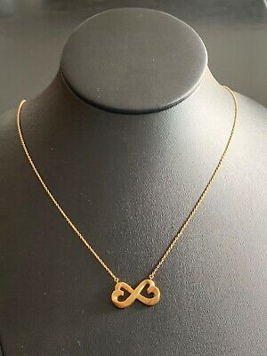 "Tiffany & Co 18K Paloma Picasso Heart Infinity Necklace 18"" + Pouch"