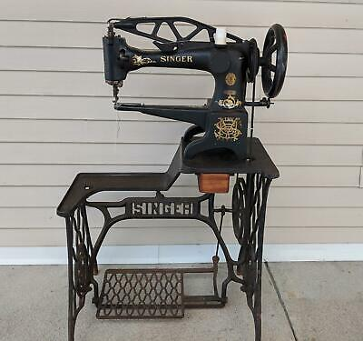 Antique Singer 29-4 Treadle Sewing Machine & Stand Industrial Cobbler Leather
