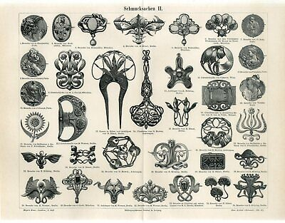 1898 ART NOUVEAU JEWELRY BROOCH PIN FRENCH GERMAN Antique Engraving Print