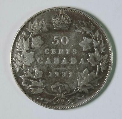 1931 Canada Canadian George V 50 Fifty Cents Silver Coin