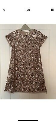 Girls Next Sequin Party Christmas Dress Pink Rose Gold Age 8 Years