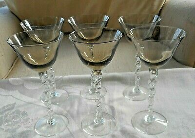 6 Vtg. Cordial, Aperitif, Sherry, Liqueur Long Stem Glasses