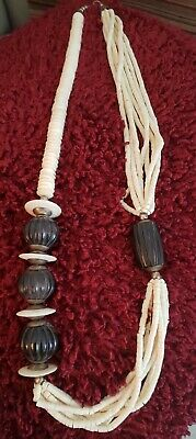 Tribal African jewelry natural buffalo horn beige huge pendant choker necklace