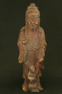 Chinese old wood Handcarved god longevity statue home decoration collectable