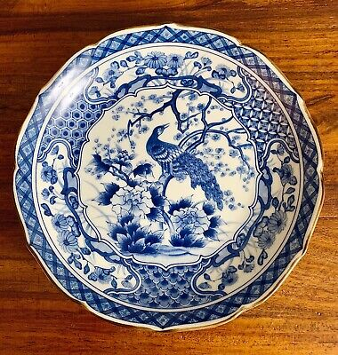 "Large Vintage Oriental Chinese Porcelain Blue & White 10"" Peacock Plate Japanese"