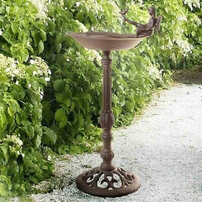 Large Bird Bath with Elf, Nostalgia Made of Cast Iron in Antique Rust Brown