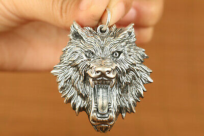 AA Fashion thicken s925 solid silver wolf statue pendant cool gift netsuke