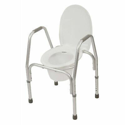 PCP Raised Toilet Seat with Safety Frame Bedside Commode and Elevated, White