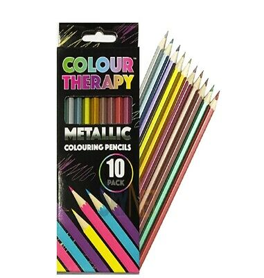 Adult Anti Stress Colour Therapy Colouring Book 10 METALLIC  PENCILS