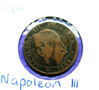 1864 France 5 Centimes Coin, Napoleon Iii, Rare Date & Bb Mint Mark, Vf+ Nice?