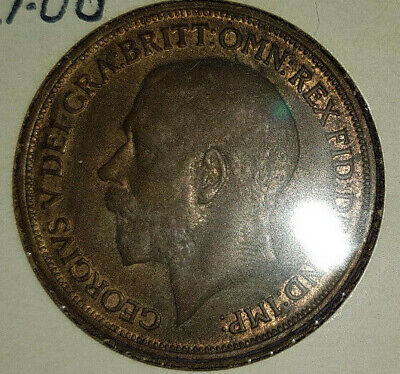 1917 King George V One Penny England A/Unc Signs Of Mint Lustre Showing