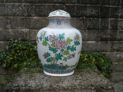 Antique republic period Chinese porcelain lidded jar with peaches - a/f