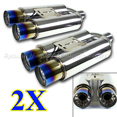FOR DODGE 2X USA NA EUROPEAN STYLE OVAL EXHAUST MUFFLER+BURNT DUAL SQUARE TIPS