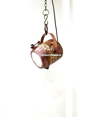 Nautical Collectible Copper Finish Natural Wooden Lamp Pendant Hanging Light