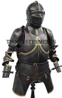 Medieval Breastplate Black Knight Suit Armor Wearable Costume