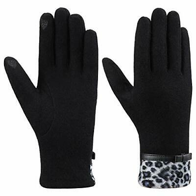 Women's Winter Wool Blend Gloves Soft Touch Screen Warm (One Size|Black)