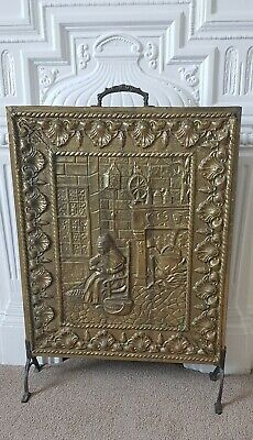Embossed Brass Vintage Fireplace Screen Fire Guard- Medieval Kitchen Scene