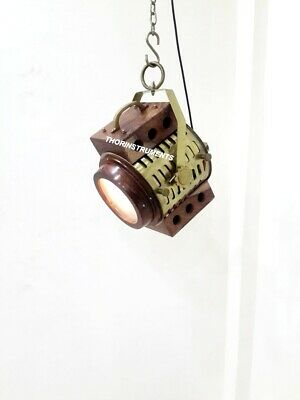 Industrial Brown Wooden Nautical Pendant Lamp Hanging Ceiling Light