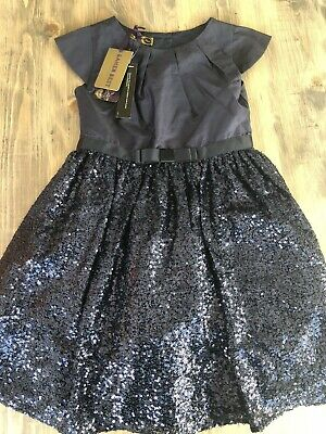 Ted Baker Girls Navy Blue Sequinned Party Dress Age 8 BNWT