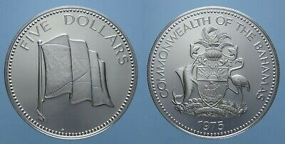 Bahamas Coin, Silver 5 Dollars 1975 Proof