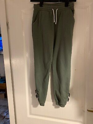 Next Green Girls Trouser Casual Drawstring Waist Buckle Detail Ankle Age 11