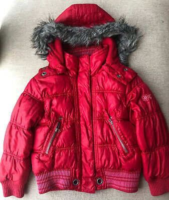 Girls Next Puffer Jacket - 5-6 Years - Red - Detachable Hood with Fur