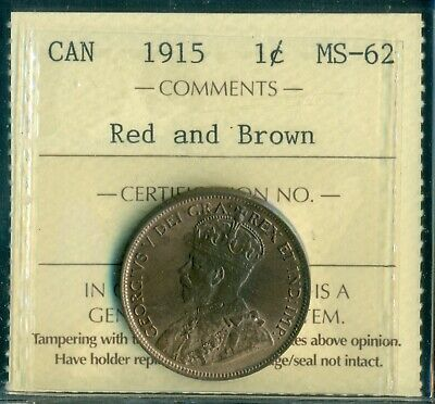 1915 Canada Large Cent, King George V, ICCS Certified MS-62 Red and Brown