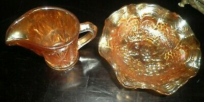 Carnival Glass cream Jug &  Sugar Bowl Sowerby 1930s orig fairground prize !