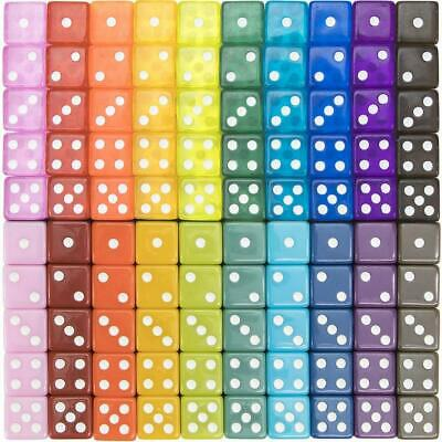 100-Pack Translucent  Solid 6-Sided Game Dice - 20 Sets Of Dice In Vintage Colo