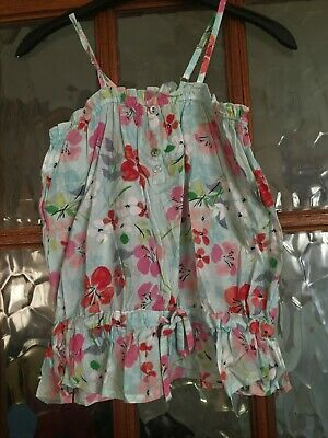 BNWT YOUNG DIMENSION Pale Aqua Mint Blue Green Floral Print Pretty Top 1-11yrs