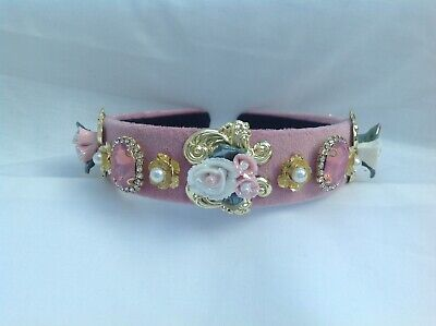 Christmas jewelled delicate pink headband with pearls and pink coloured stones.