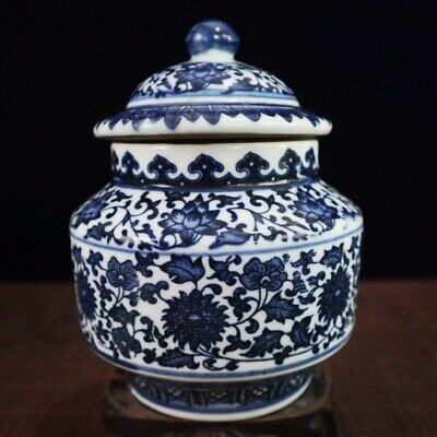 Chinese Old Hand-painted blue and white porcelain vase qianlong Pots /Wc01