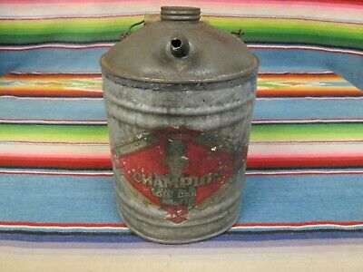 Original Vintage Metal Champion Oil Co. Oil Or Kerosene Can In Used Condition
