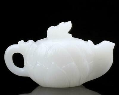 Exquisite chinese 100% natural white jade hand carved lotus teapots /Td01