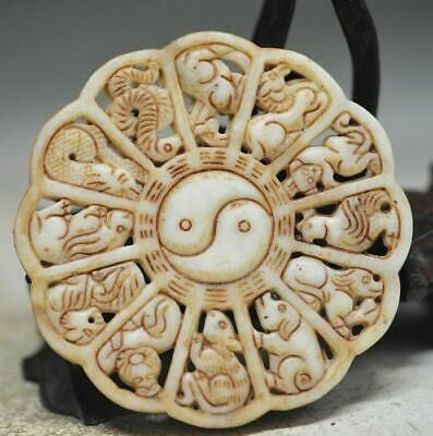 Perfect Chinese old jade hand carved Twelve Chinese Zodiac pendant /T 02