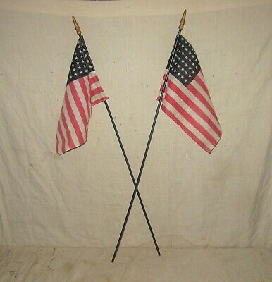 A Pair Of 48 Star Flags On Sticks