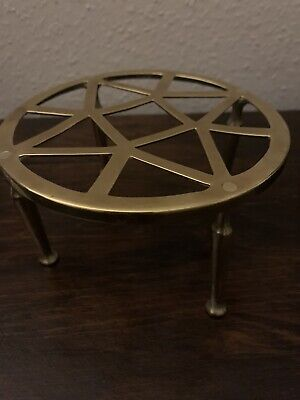 Antique Victorian Brass Trivit Pot Stand Kettle Stand Fireside Pot Warmer