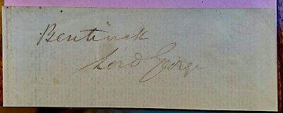 Lord George Bentinck (†1848)  Autograph ,Rare Signed As Bentinck & Lord George