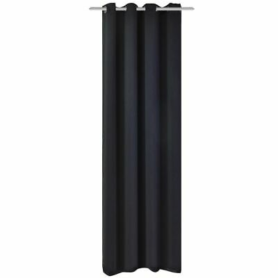 vidaXL Blackout Curtain with Metal Eyelets 270x245 cm Black Window Drapes Home~
