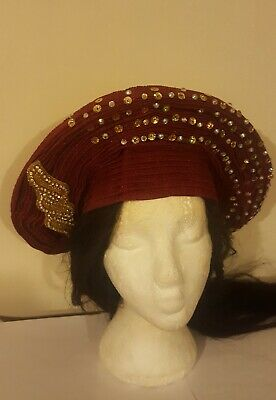 Auto gele Ready to wear head tie.Beautiful Burgundy colour.