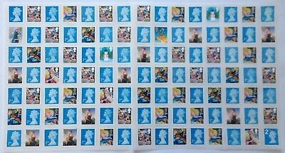 100 Unfranked Second Class Mixed Stamps With Glue Easy Peel Face Value £61