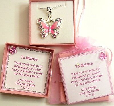 Bridesmaid Flower Girl Pink Enamel Butterfly Necklace Personalised Gift Box