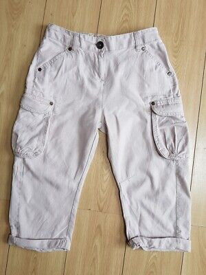 NEXT girls stone coloured linen blend cropped cargo trousers age 9