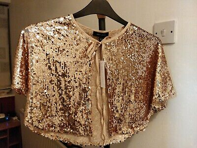 Women Bolero rose gold fully sequin cover up shrug new look shawl 14-16 one size