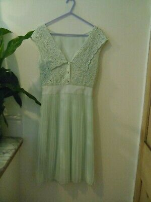 Ted Baker Green Mint Dress Lace Pleated Size 1 Evening Party