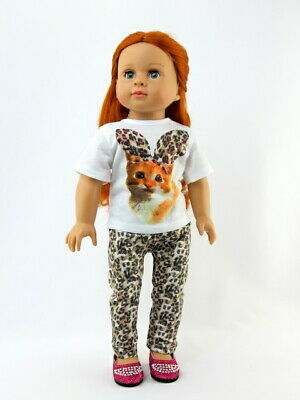 """American Girl 18"""" Doll Outfit Kitty Cat Leopard Pants Shirt Set Brand New Bag"""