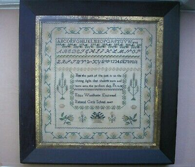 Old Antique Sampler Embroidery Dated 1847 Eliza Eastwood National Girls School